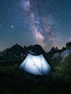 Glowing tent shot