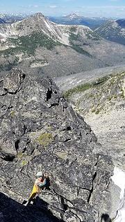 Scrambling near summit of Remmel