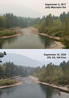 Comparison of fire smoke with roughtly the same time of year in 2017