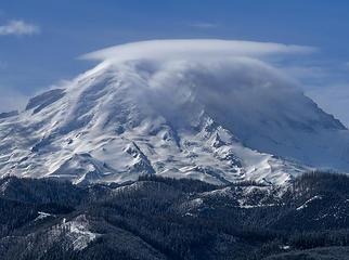 A nice angle on Mt Rainier . . . Curtis Ridge nicely highlighted (CR)