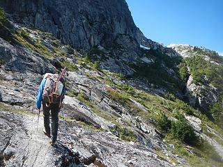 traversing slabs to Burman Ridge camp
