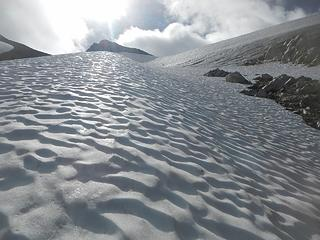 leading up hard snow with micros, everyone else had crampons