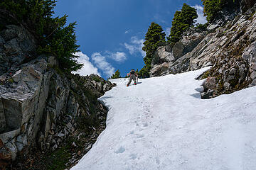 Down the steep snow