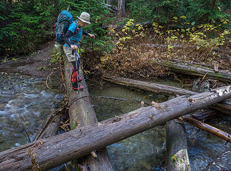On trail 1315 - microspikes work great on slippery logs