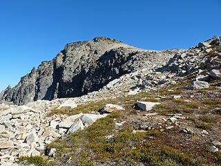 View of summit route from the top of the gulley.