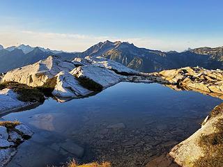 ridgeline tarn with Mt Prophet in the distance