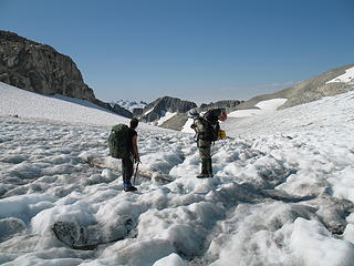 Don Beavon and Mike Collins on the Redoubt Glacier.