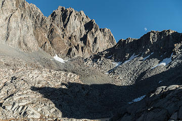 north palisade over thunderbolt col + the moon