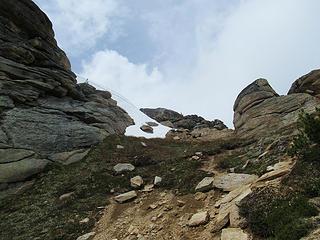 easy terrain below the summit