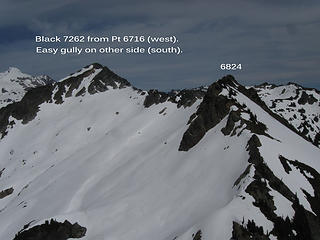 West side of Black from Pt. 6716.  7/4/14.  I didn't know that an easy gully on the south of Black goes right to the top.