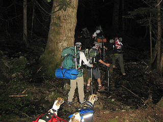 Headlamp hiking in the dark