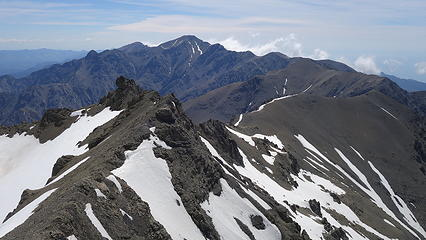 View east from the summit down the spine of the seaward Kaikouras