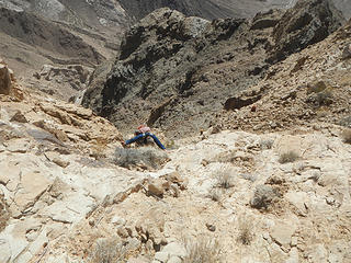 scrambling up the gully to the sub-ridge after turning a corner