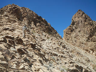 ascending the sub-ridge to traverse to the top notch