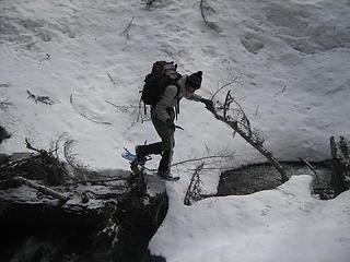 Ryan crossing the creek