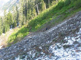 Avanache debris on the trail
