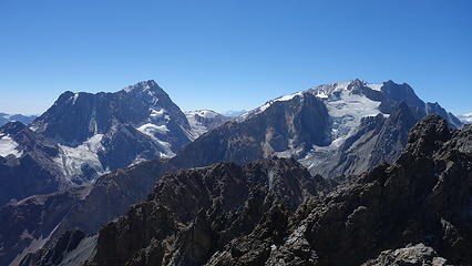 Cerro Cortaderas (right) and Meson Alto (left) from the summit