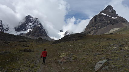 Hiking towards the glacier