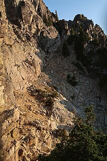 this ledge leads to easy access of the summit block