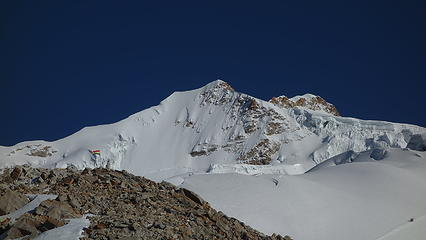 Huayna Potosi with the French Route directly up the face at center left