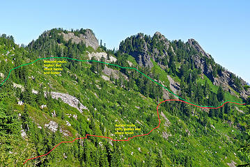 High points on the Bessemer ridge. The summit is the far right high point, but there is an intervening ridge that must be crossed. I recommend a high traverse to avoid cliffy gullies