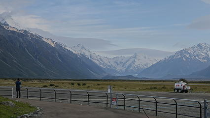 Southern Alps from back at the Mount Cook airport after riding out