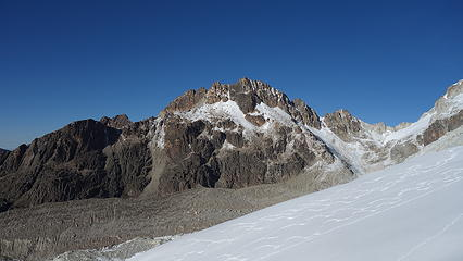Unnamed 5450m peak on south ridge of Huayne Potosi. Notice ski tracks.
