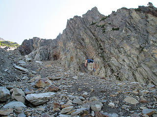 Heading up the steep gully towards the Mt. Seattle summit.  Beware of crappy, loose rock.