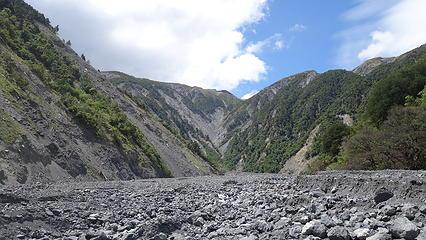 Walking on the landslide debris in the upper Hapuku Valley