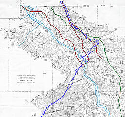 Our route superimposed on the 1937 Pratt cruiser map. Our crossings were really close to the location of the big switchback of the NBTC logging RR