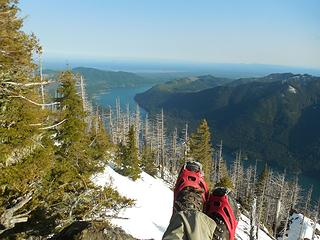 view of Lake Cushman from Mt Rose in late April (compare to view back in January...)