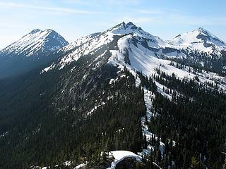 The Ridge Westward – Camp at wide area in upper center.  Elija & Joseph left, Tarheel center, Bebbe right.