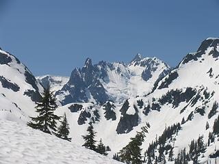 Mt Shuksan appears as we climb above Hannegan Pass