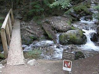 Creek crossing just at start of Crystal Peak/Lakes trail.