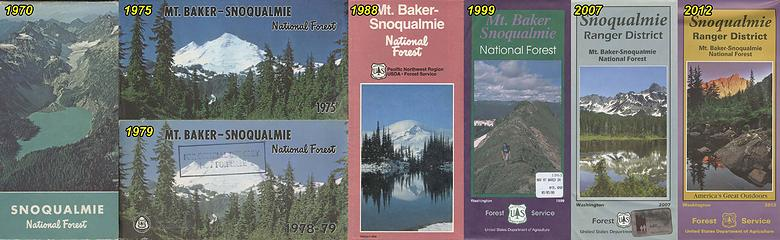 My collection of USFS recreation maps for the Snoqualmie, then Mount Baker Snoqualmie region