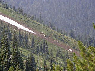 View of trail below where last snow must have just melted