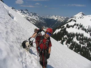 On the steep traverse above Hannegan Pass