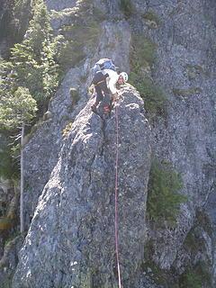 Wayne climbing the incredible N rib.