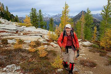 Happy to hike near larches