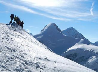 Pollux Summit With Lyskamm Behind