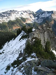 exposure to south side of ridge, steep slopes on north