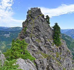Bessemer summit block. It's possible to go either right or left to avoid the overhanging top block. Both have exposure, but left is easier.