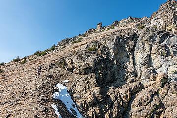 climbing up to the summit ridge