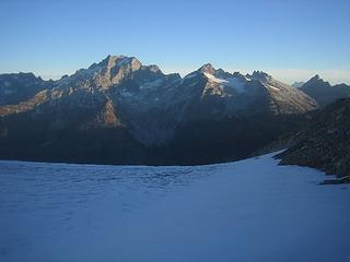 Pass to glaciers, Dome Peak in distance