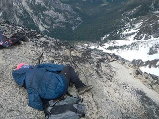 Mike sleeping soundly above Mountaineer Creek valley