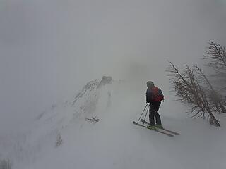 Skiing down the west ridge near Pt 7709