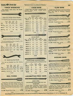 1935 Shapleigh Hardware catalog Track Wrench Rail Fork Locomotive Pinch Bar ad pp 55