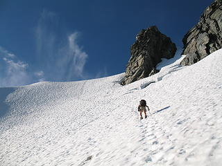 Steph ascending the final snowfield below the summit of Johannesburg on the NE Rib.