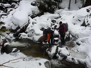 Kolleen taking the leap across Dick Creek