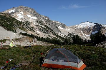 Campsite on the ridge above the lake.